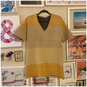 Zara mustard quilted shift dress